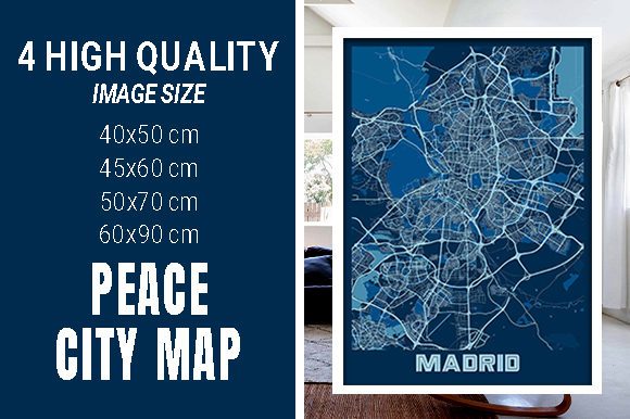 Madrid - Spain Peace City Map Graphic Photos By pacitymap