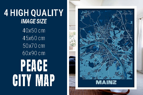Mainz - Germany Peace City Map Graphic Photos By pacitymap