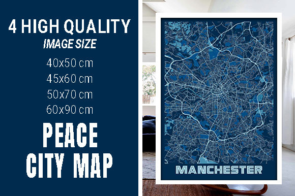 Manchester - United Kingdom Peace City Graphic Photos By pacitymap