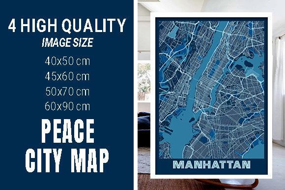 Manhattan - United States Peace City Map Graphic Photos By pacitymap