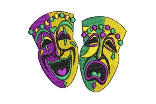 Mardi Gras Happy-Sad Faces Holidays & Celebrations Embroidery Design By BabyNucci Embroidery Designs