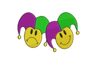 Mardi Gras Jester Smiling Faces Holidays & Celebrations Embroidery Design By BabyNucci Embroidery Designs
