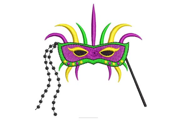 Mardi Gras Embroidered Mask Holidays & Celebrations Embroidery Design By BabyNucci Embroidery Designs