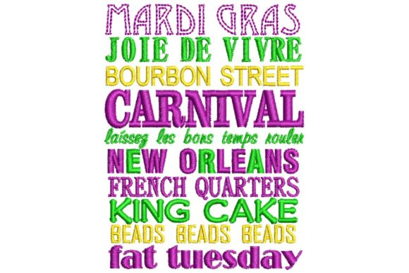 Mardi Gras Phrases Holidays & Celebrations Embroidery Design By BabyNucci Embroidery Designs