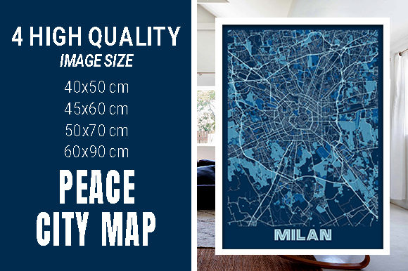 Milan - Italy Peace City Map Graphic Photos By pacitymap