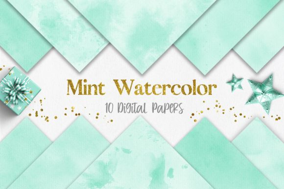 Mint Watercolor Texture Digital Papers Graphic Backgrounds By PinkPearly