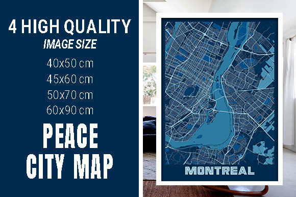 Montreal - Canada Peace City Map Graphic Photos By pacitymap