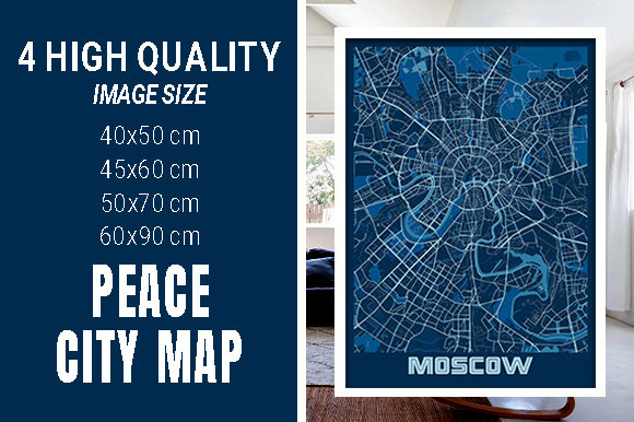 Moscow - Russia Peace City Map Graphic Photos By pacitymap