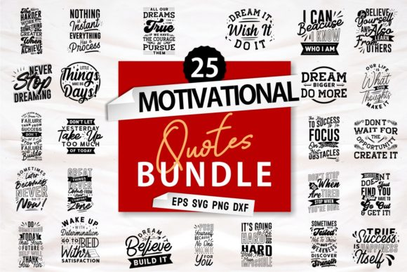 Print on Demand: Motivational Quotes Bundle SVG Graphic Print Templates By Universtock