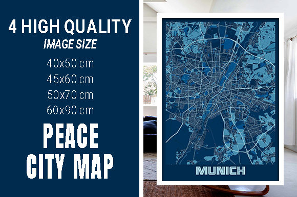 Munich - Germary Peace City Map Graphic Photos By pacitymap