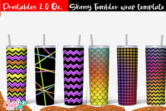 Neon  Skinny Tumbler Wrap Sublimation Graphic Print Templates By Cute files
