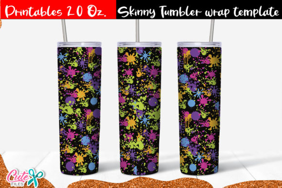 Neon Splash Skinny Tumbler Wrap Grafik Druck-Templates von Cute files