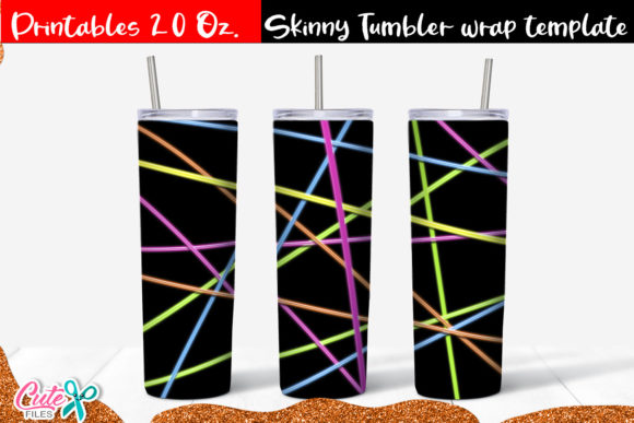 Neon Striped Skinny Tumbler Wrap Graphic Print Templates By Cute files