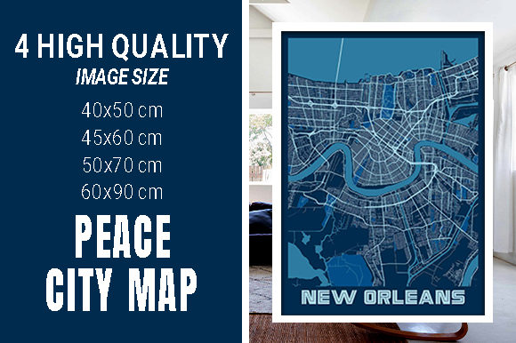 New Orleans - Louisiana Peace City Map Graphic Photos By pacitymap