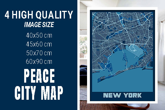 New York - United States Peace City Map Graphic Photos By pacitymap