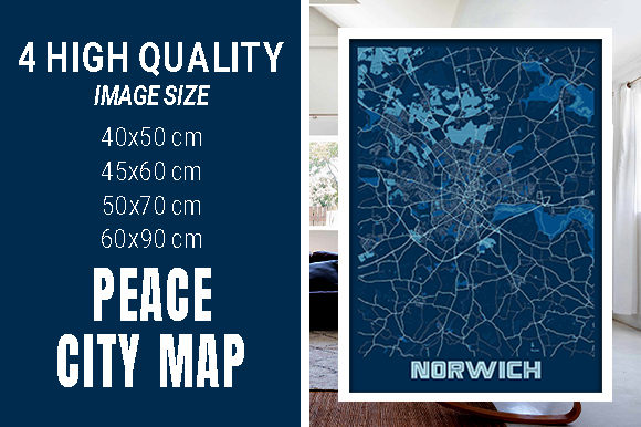 Norwich - United Kingdom Peace City Map Graphic Photos By pacitymap