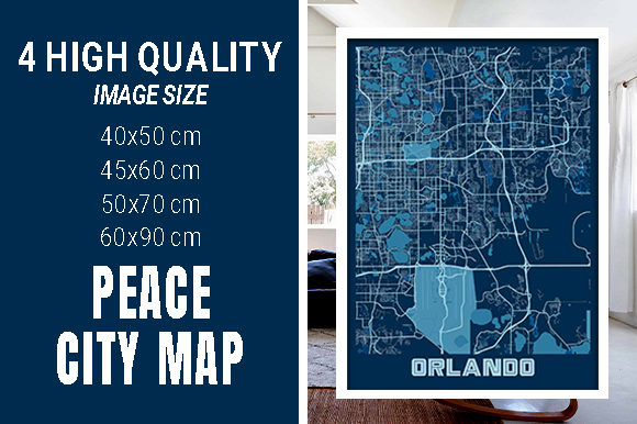 Orlando - United States Peace City Map Graphic Photos By pacitymap