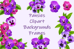 Print on Demand: Pansies Clip Art, Frames and Backgrounds Gráfico Ilustraciones Por The Paper Princess