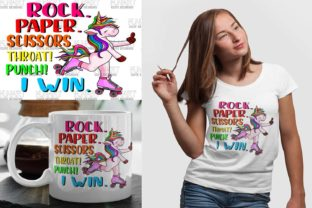 Paper Rock Scissors, Unicorn , Digital Graphic Illustrations By Fundesings