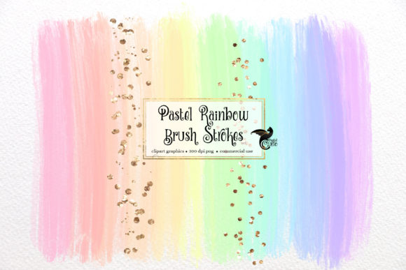 Pastel Rainbow Brush Strokes Clipart Graphic