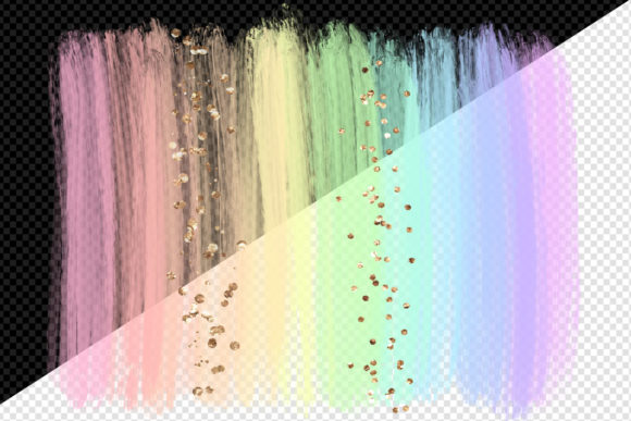 Pastel Rainbow Brush Strokes Clipart Graphic Download
