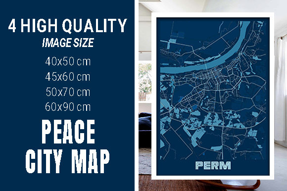 Perm - Russia Peace City Map Graphic Photos By pacitymap