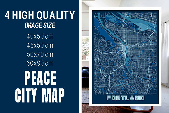 Portland - United States Peace City Map Graphic Photos By pacitymap