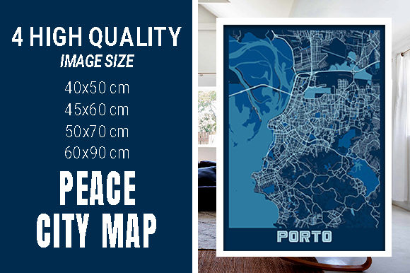 Porto - Portugal Peace City Map Graphic Photos By pacitymap