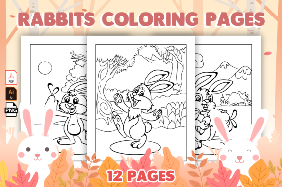 Rabbits Coloring Pages for Kids Graphic Coloring Pages & Books Kids By Kristy Coloring