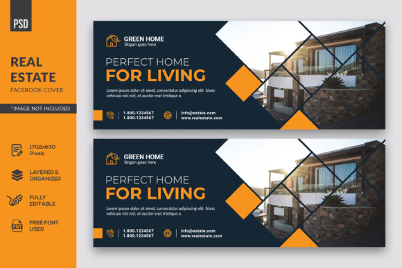 Real Estate Facebook Cover Graphic Web Elements By kdadan97