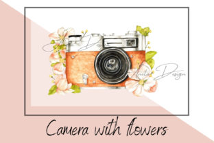 Retro Camera with Watercolor Flowers Graphic Illustrations By Aneta Design