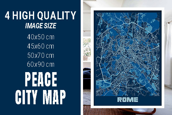 Rome - Italy Peace City Map Graphic Photos By pacitymap