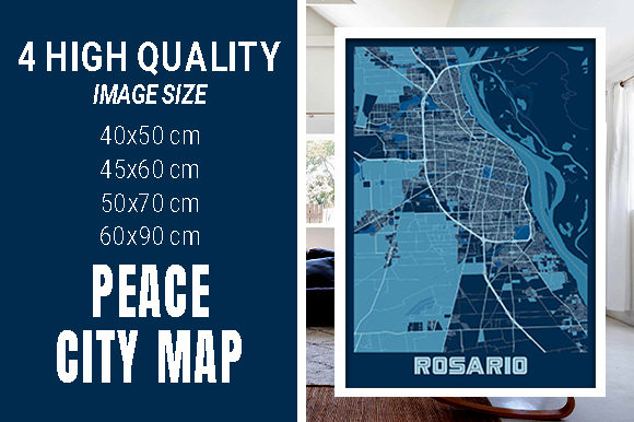 Rosario - Argentina Peace City Map Graphic Photos By pacitymap