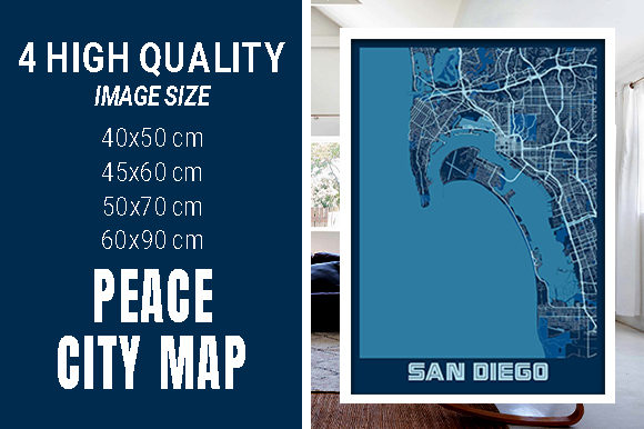 San Diego - United States Peace City Map Graphic Photos By pacitymap