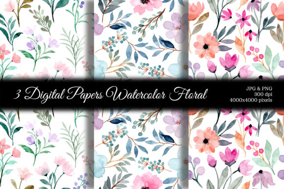 Print on Demand: Seamless Pattern Floral Watercolor 118 Graphic Patterns By asrulaqroni