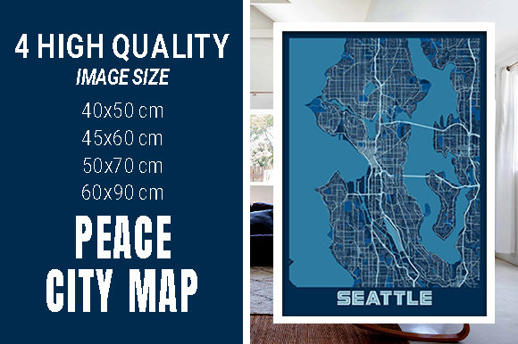 Seattle - United States Peace City Map Graphic Photos By pacitymap