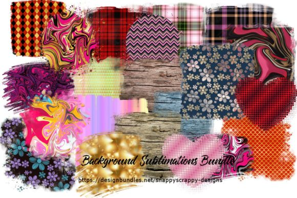 Sublimation Backgrounds Bundle Grafik Illustrationen von Snappyscrappy