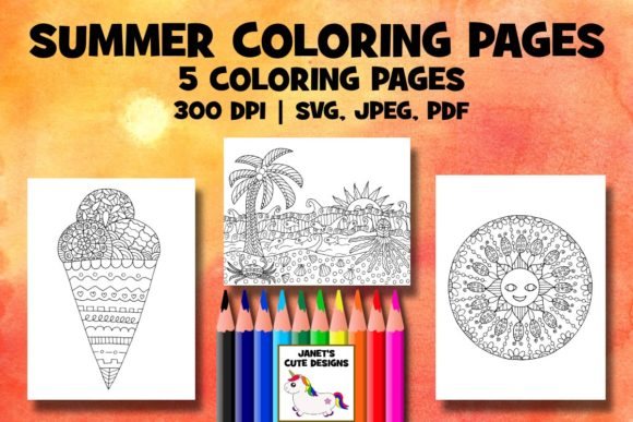 Print on Demand: Summer Coloring Pages Graphic Coloring Pages & Books By Janet's Cute Designs