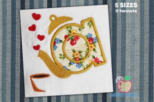 Tea Pot Made by Alphabet Applique Kitchen & Cooking Embroidery Design By embroiderydesigns101