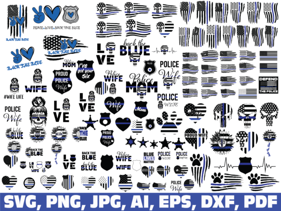 Thin Blue Line, Police, Back the Blue Graphic Crafts By dodo2000mn1993