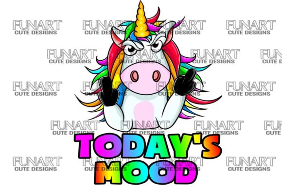 Today's Mood Unicorn , Digital Desing Grafik Illustrationen von Fundesings