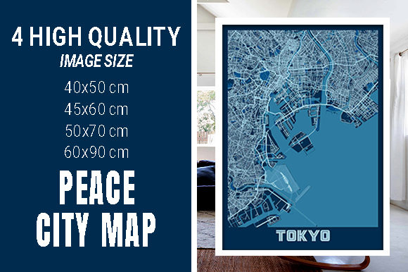 Tokyo - Japan Peace City Map Graphic Photos By pacitymap