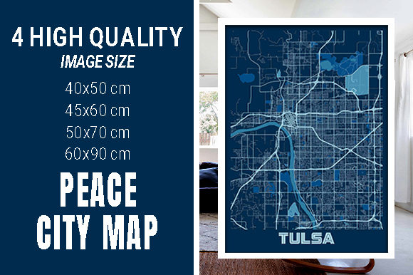 Tulsa - United States Peace City Map Graphic Photos By pacitymap
