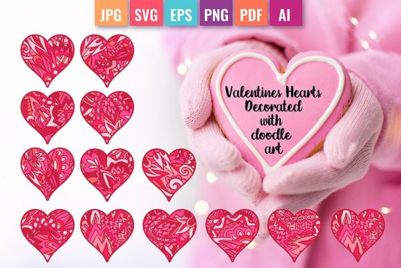 Valentine Hearts Decorated with Doodles Graphic Objects By DoodleBox