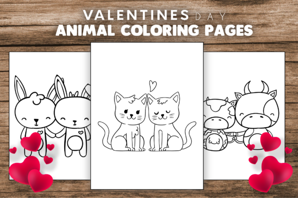 Valentine's Day Animal Coloring Pages Graphic Item