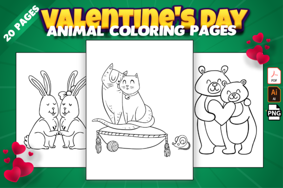 Valentine's Day Animal Coloring Pages Gráfico Libros para colorear - Niños Por Kristy Coloring