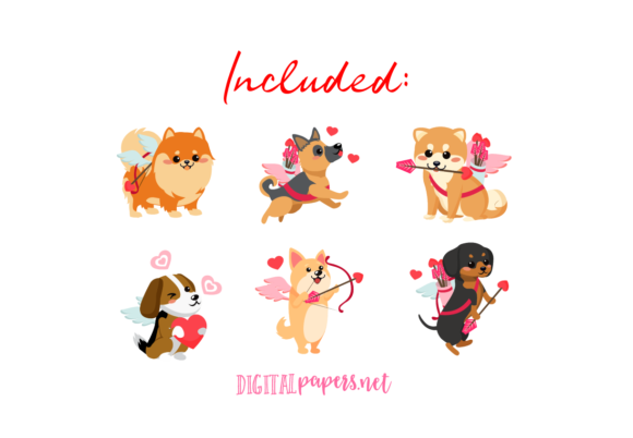 Valentine's Day - Cupid Puppies Graphic Download