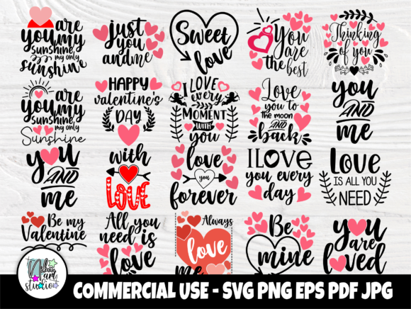 Print on Demand: Valentines SVG Bundle, Heart Svg Files Graphic Crafts By nibaartstudio