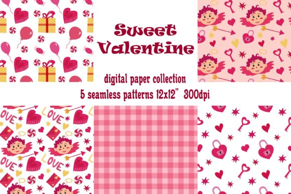 Valentine's Day Digital Papers. 5 Seamle Graphic Patterns By ksenia.shuneiko