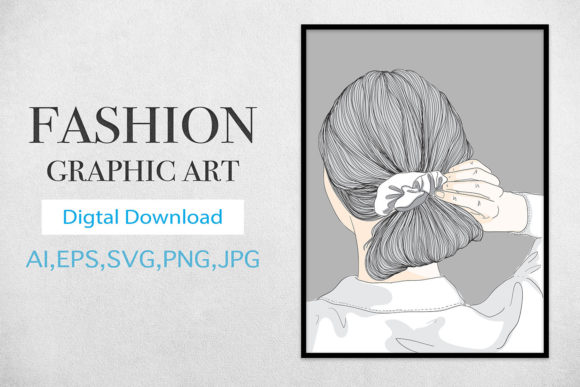 Print on Demand: Wall Art,Short Haired Girl Hairstyle Graphic Illustrations By Saydung89